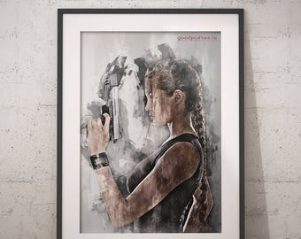 Angelina Jolie Tomb Rider print wall art home decor