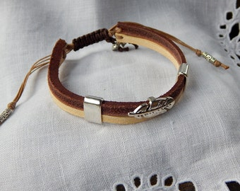 Bracelet mixed Brown and beige leather pen silver