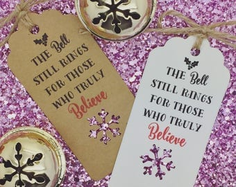 Polar Express Bell Gift Tag, Train Ticket Christmas Decoration, Believe Bell