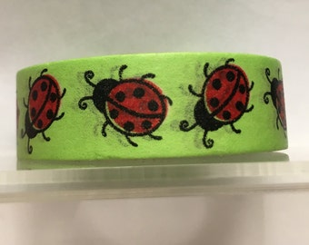 Lime green with red ladybugs washi tape