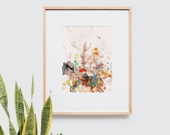 Abstract art composition - Contemporary art - Watercolor Print - Limited edition. Topos V.