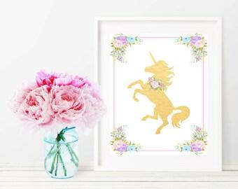 Unicorn Wall Art, Unicorn Print, Unicorn Nursery, Printable Wall Decor, Unicorn Wall Art Print, Printable Girl Nursery