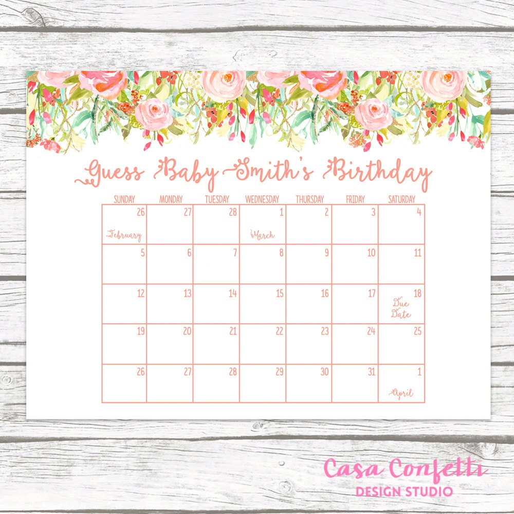 Calendar Shower Ideas : Due date calendar guess baby s shower game