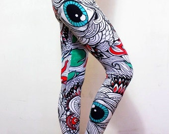 3rd eye leggings, psychodelic leggings