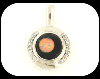 New Opal Onyx Inlay & CZ Cubic Zirconia 925 Sterling Silver PENDANT