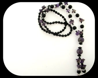 New Handcraftrd Amethyst Quartz & Onyx Bead NECKLACE Tassel