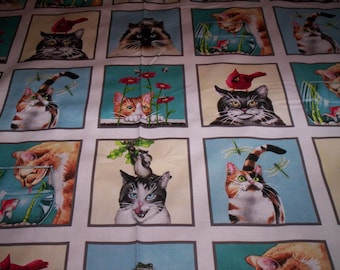 1 Panel Curious Cats Tracy Lizotte for Elizabeth's Studio 15 blocks blue white
