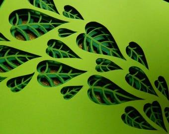 3D Paper Sculpture Leaves Layers
