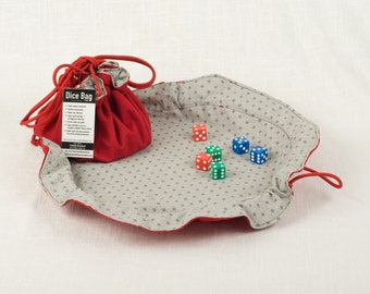 Large lie-flat dice bag (Red/Gray)