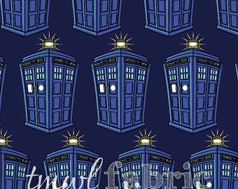 Knit Fabric - BBC Doctor Who Tardis Repeat - Fat Quarter Yard +