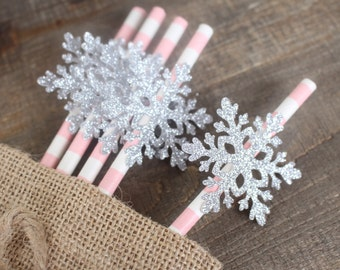 Winter Onederland Decorations - Winter Onederland Straws - Snowflake Decorations - Pink and Silver Party - Onederland Party - First Birthday