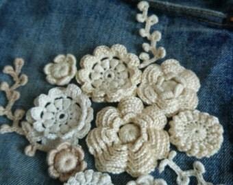 Irish lace.  Flowers.Applications 10 pcs. Handmade. Decoration on clothing, bags, decoration.