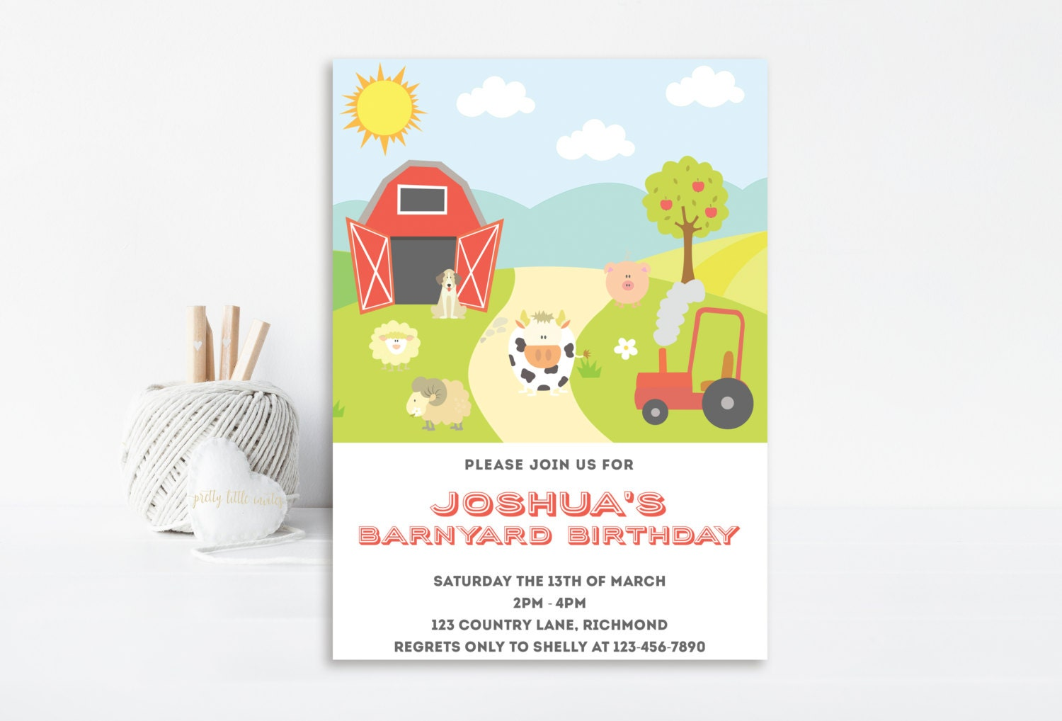Farm Invitation, Farm Birthday, Farm Party, Birthday Invitation ...