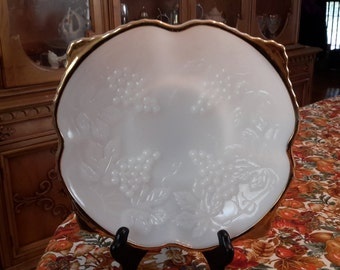 """Vintage Anchor Hocking Milk Glass 9"""" Serving Dish, Grape Design, Gold Trim, bowl, square shaped, scalloped edge, marked, cottage chic, oven"""