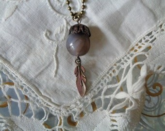 Agate  Necklace  , (semi precious stone) Necklace pendant,French creation.