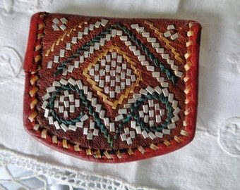 Leather wallet vintage,Morocco handcraft wallet,leather  purse