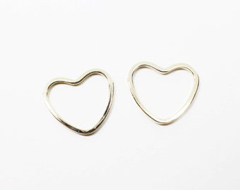 P0523/Anti-Tarnished Gold Plating Over Brass/Clotty Heart Connector Pendant/14x13mm/4pcs