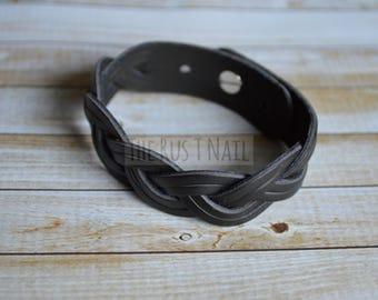 FREE SHIPPING - Black Multi Strand Braided Leather Bracelet