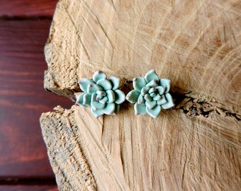 Succulent stud earrings, Mint Succulent Earrings, Women gift, Polymer clay succulent, Green Flower Earrings, Wedding Succulent Jewelry,