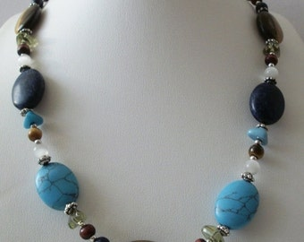 ON SALE Vintage CHAPS Signed Pretty Southwestern Tigers Eye Turquoise Lapis Stones Bali Necklace 112016