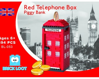 Nano Block - Red Telephone Box Piggy Bank
