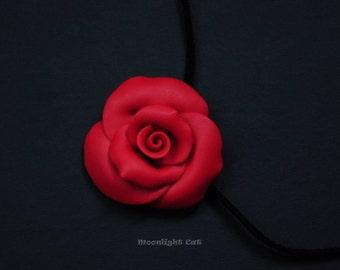 Red Rose Necklace, Rose Pendant, Flower Jewellery, Polymer Clay Rose, Red Rose, Large Rose Pendant