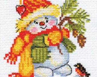 Cross Stitch Kit by Alisa - Little snowman; Cross stitch for beginners; Cross stitch for girls;  kids room decor; Bunny cross stitch