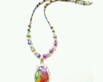 Rainbow necklace, rainbow jewelry, beaded rainbow necklace, rainbow pendant necklace, quartz pendant necklace, quartz jewelry