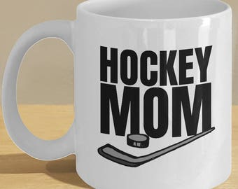 Ice hockey mom gifts - ice hockey mom gift - ice hockey player mom funny stick/puck mug // Ice Hockey fan, lovers coffee cup