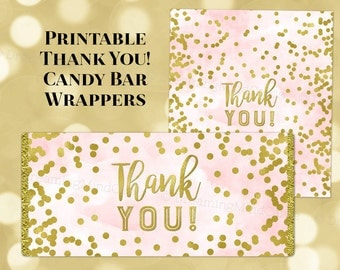 Printable Candy Bar Wrapper Labels Thank You Pink Watercolor Gold Confetti Birthday Wedding Baby Shower Bridal Shower Digital