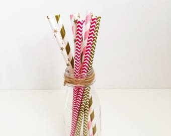 10 pink and gold paper party straws, blue and gold, purple and gold, black and gold, Party Celebrations, 1st birthday, Table Decorations