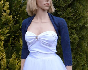 Navy Blue Delicate Bridal Bolero  ,Wedding Bolero Shrug