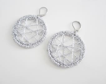 Silver earrings, hoop crochet earrings, minimaliste earrings, crocheted earrings, women hoop earrings, mother day gift