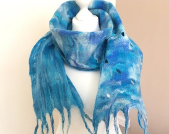 Wool Felted Scarf   Merino Wool Felted Scarf   Wet Felted Wrap  Wool Felting