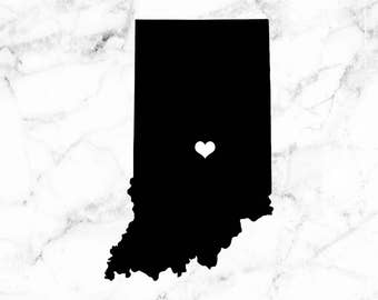 Indiana decal, I heart Indiana, Home sweet home decal, Home state stickers