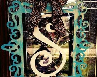 Shabby Chic Door Decor, Tiffany Blue Door Decor,Leopard Print Bow, Sophisticated Door Decor,Shabby Chic Door hanger,Elegant Door Decor