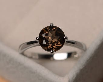 Solitaire ring, smoky quartz ring, round cut engagement ring silver