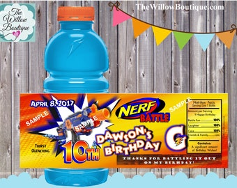 Personalized Nerf Birthday Gatorade Bottle Labels Personalized with your childs name etc.