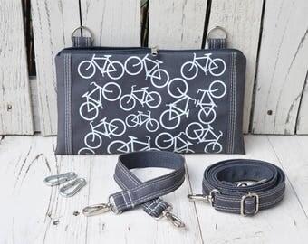 Bike Vegan 3in1 Bag, Cconvertible Fanny Pack, Cycling Belt Bag, Grey Canvas Crossbody Bag, Utility Bag, Festival Wear, Sporty Mini Bag