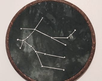 Gemini Constellation Hand Embroidered Wall Hanging * Astrology Constellation *