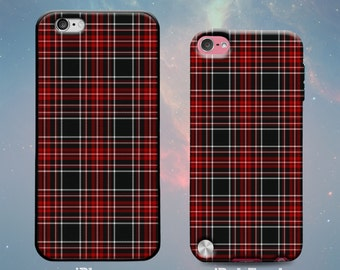Red & Black Plaid Pattern Rubber Case for iPhone 7 Plus iPhone 7 iPhone 6s 6 Plus iPhone SE iPhone 5s 5 5c iPod Touch