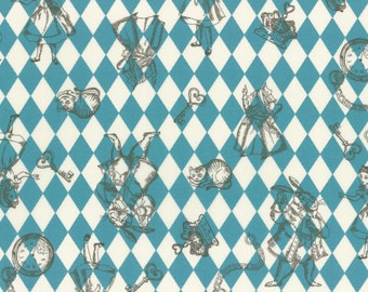 1/2 yard Lecien Japan Girl's Story Alice in Wonderland Cotton Shirting | # 40724L-70 Blue