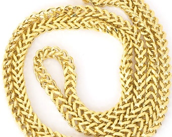 14kt Yellow Gold Men's Square Franco Chain 3.2mm , 3.9mm or 4.4mm