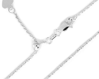 10K Rope Chain White Gold Diamond Cut Adjustable with Lobster Clasp