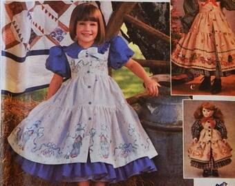"""Daisy Kingdom Child's Dress & Pinafore Pattern - 18"""" Doll Dress Pattern - Child Sizes 3, 4, 5, 6  - Simplicity 9706 Pattern - UNCUT Pattern"""