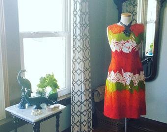60s 60's Vintage Hawaiian Dress Togs Tropical Small to Medium S to M 1960s Aloha Retro
