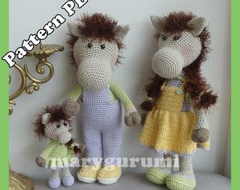 Crochet Pattern, pattern, tutorial, Amigurumi horse family