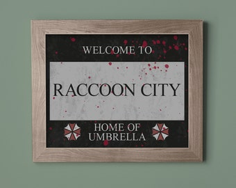 Resident Evil Raccoon City Sign Instant Download Printable Art