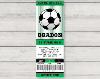 Soccer Invitation - Printable Birthday Party Invitation - Soccer Ticket Invitation - Instant Download - Editable Text