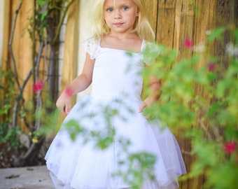 Lace Sleeve Flower Girl Dress, White Simple Flower Girl Dress. Perfect For Toddlers To 12yrs, Lace Sleeves